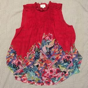 Anthropology Flowy Floral Sleeveless Blouse